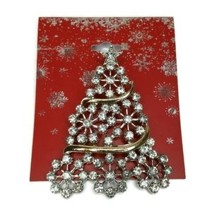 Christmas Tree Rhinstone Brooch Pin
